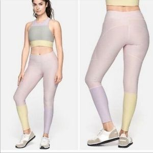 Outdoor Voices 7/8 Dipped Warmup Leggings Pink Colorblock Small